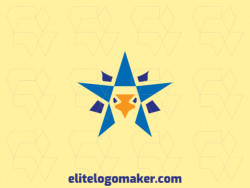 Logo design in the shape of a star combined with a bird with symmetry design and yellow and blue colors, this logo is ideal for any business.