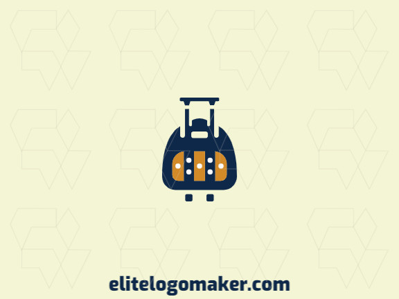 Create a logo for your company in the shape of a suitcase with an abstract style, with blue, brown, and white colors.