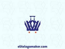 Logo available for sale in the shape of a suitcase combined with a crown, with abstract style with blue and orange colors.