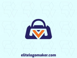 """Vector logo in the shape of a suitcase combined with a letter """"V"""" with an abstract style."""