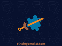 Stylized logo design with the shape of a sword and a puzzle composed of abstracts shapes with yellow, brown, and blue colors.