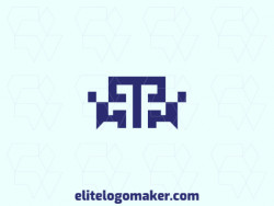 """Ideal logo for different businesses, in the shape of a letter """"T"""" combined with a robot, with creative design and minimalist style."""
