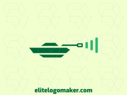 Minimalist logo created with abstract shapes forming a tank combined with a wifi icon with the green color.