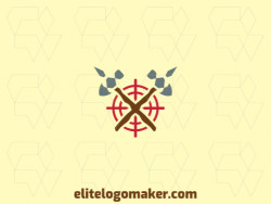 Abstract logo design with the shape of two axes and a target composed of abstracts shapes with red, gray, and brown colors.