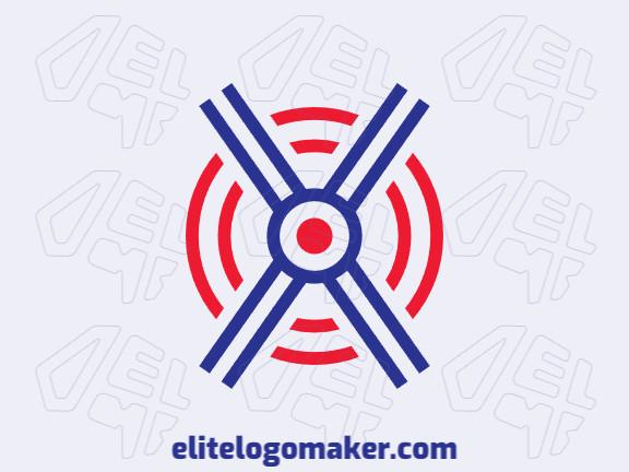 Logotipo simples e profissional com a forma de um alvo com estilo abstrato, as cores utilizadas foi azul e vermelho.