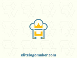 Minimalist logo in the shape of chef hat combined with crown and throne with blue and yellow colors.