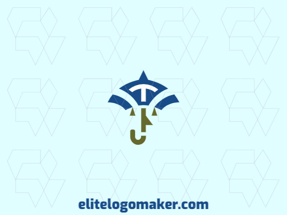 Character logo with the shape of a face of a man combined with an umbrella with green and blue colors.
