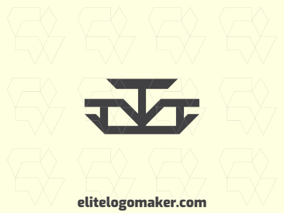 Elegant logo made up of simple shapes forming a balance with a minimalist style, the color used was black.