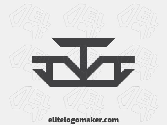 Logotipo criado com estilo minimalista formando uma balança com a cor preto.