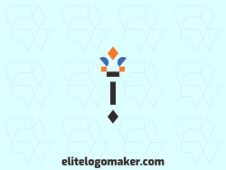 Minimalist logo design in the shape of a torch composed of simples shapes with black, orange, and blue colors.