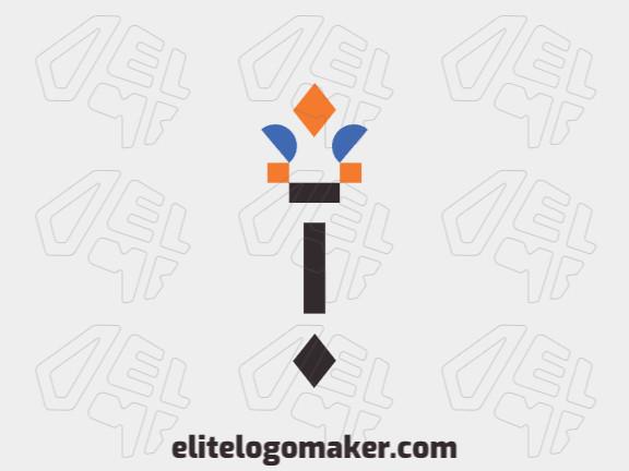 Logotipo moderno grátis com a forma de uma tocha com design profissional e estilo minimalista.