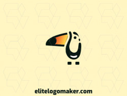 Mascot logo in the shape of a toucan ideal for any brand, the colors used in the logo is yellow, orange, and black.