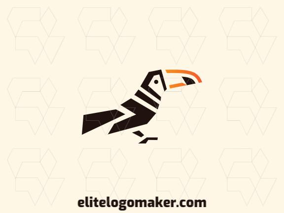 Logotipo animal com ideia criativa formando um tucano composto por formas abstratas com as cores amarelo, laranja, e preto.