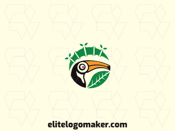 Logo consisting of abstract forms forming a toucan combined with bamboo with circular style, the colors used are black, green, and yellow.