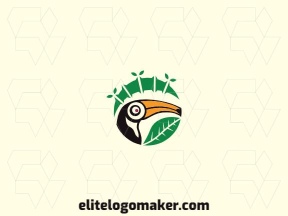 Logotipo circular com formas sólidas formando um tucano combinado com um bambu com design refinado e cores verde, amarelo, e preto.