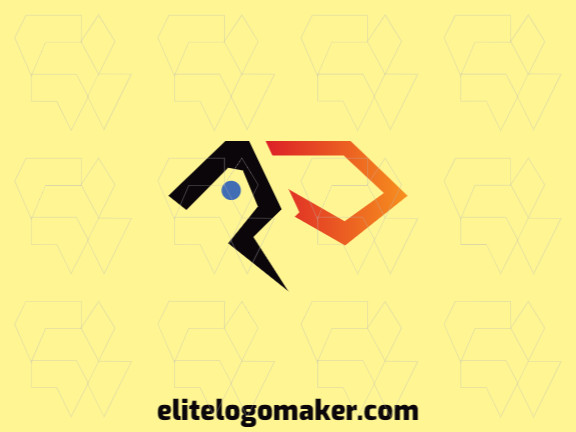 Logotipo moderno grátis com a forma de um tucano mesclado com um diamante com design profissional e estilo abstrato.