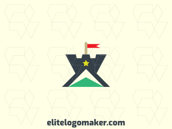 Stylized logo design in the shape of a tower combined with a star and an arrow with green, yellow and dark gray colors.