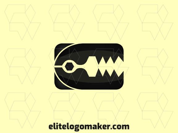 Logotipo criativo com a forma de uma armadilha com design memorável e estilo abstrato, a cor utilizado no logotipo é preto.