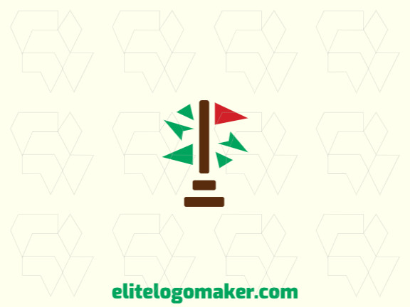 Abstract logo design with the shape of a tree and a flag composed of abstracts shapes with brown, green, and red colors.
