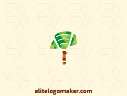 Stylized logo with the shape of a tree combined with a spoon with green and brown colors.