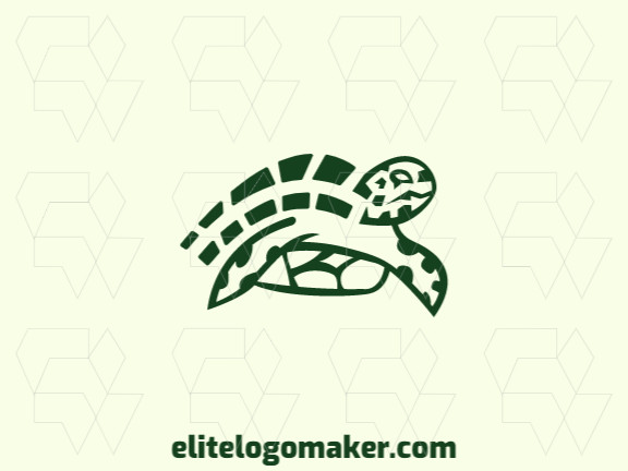Abstract logo design in the shape of a turtle composed of simples shapes with green colors.