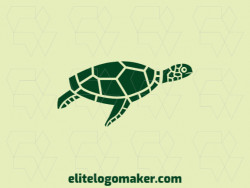 Simple and professional logo in the shape of a turtle with a illustrative style, the color used was green.