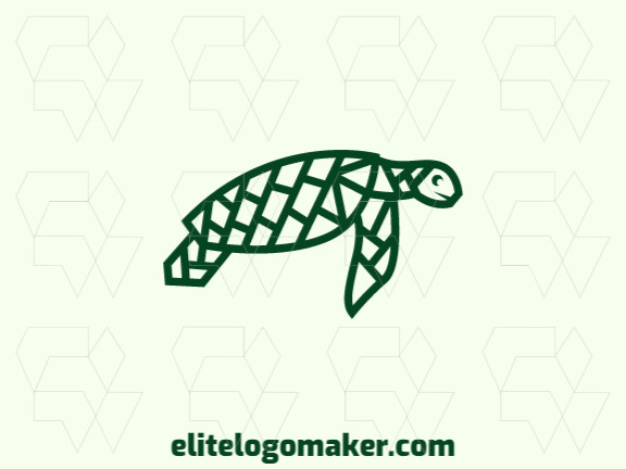 Logo design with the illustration of a turtle with a unique design and outline style.
