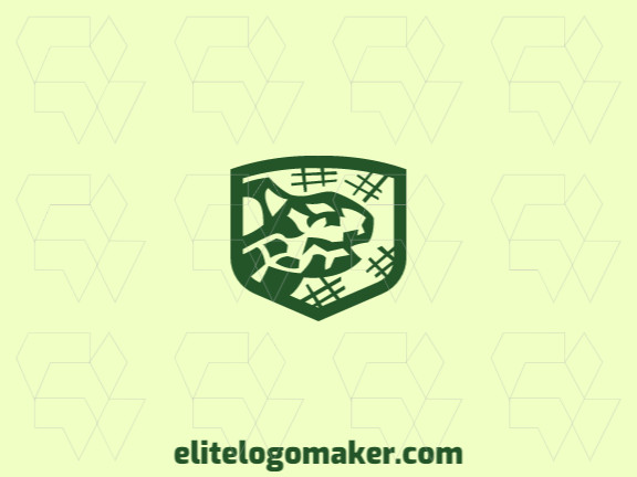 Animal logo with the shape of a turtle combined with a shield with green colors.