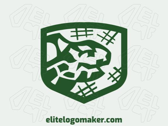 Logotipo adequado para várias empresas com a ilustração de uma tartaruga mesclado com um escudo com design único e estilo abstrato.
