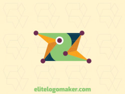 Creative logo with solid shapes forming two birds with a refined design with green, blue, purple, and yellow colors.