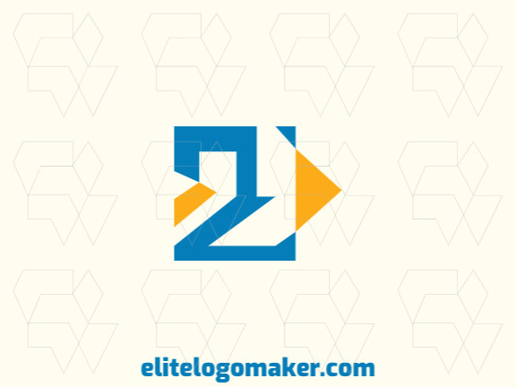 Minimalist logo composed of abstract shapes and rectangles forming two birds with yellow and blue colors.