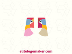 Animal logo design in the shape of two birds composed of colorful shapes with yellow, pink, blue, and orange colors.