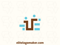 """Professional logo in the shape of a letter """"U"""" combined with a letter """"E"""" with an abstract style, the colors used was blue and brown."""