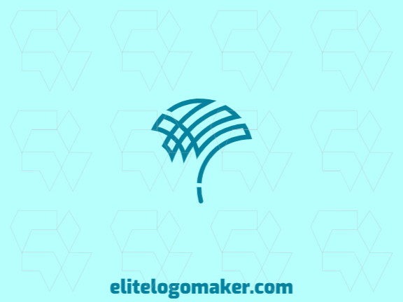 Abstract logo composed of abstracts shapes forming an umbrella similar to a bird with blue and gray colors.