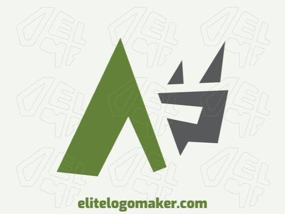 Logotipo criativo com a forma de um rinoceronte combinado com uma seta com design memorável e estilo minimalista, as cores utilizado foram verde e cinza.