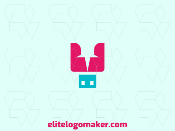 Simple logo with the shape of a pin combined with a pen drive with blue and pink colors.