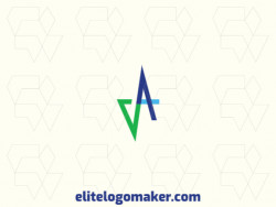 "Logo available for sale in the shape of a letter ""v"" combined with a letter ""A"" with abstract design with green and blue colors."