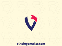 "Create your own logo in the shape of a letter ""V"" combined with a banner, with an initial letter style with blue and red colors."