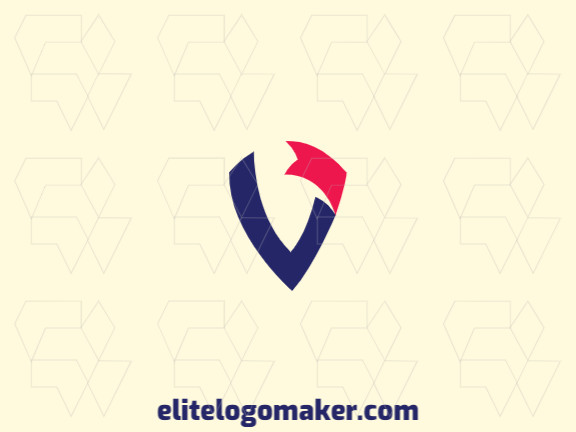 """Create your own logo in the shape of a letter """"V"""" combined with a banner, with an initial letter style with blue and red colors."""