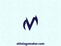 "Exclusive logo in the shape of a letter ""V"" combined with a letter ""M"", with minimalist design and blue color."