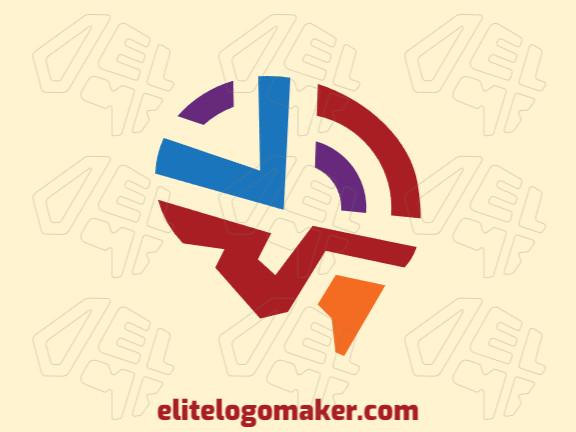"""Logotipo abstrato com ideia criativa formando um cérebro combinado com uma letra """"V"""" composto por formas abstratas com as cores roxo, vermelho, azul, e laranja."""