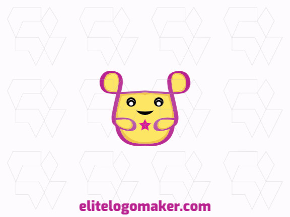 Cartoon logo design in the shape of a hamster composed of abstracts shapes with black, pink, and yellow colors.