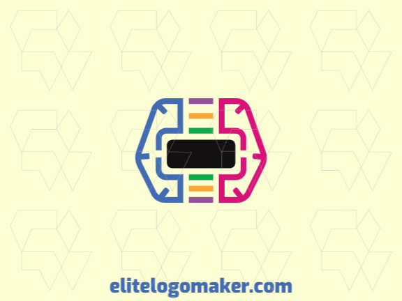 Simple logo with the shape of a brain combined with a virtual reality glasses with black, blue, yellow, and green colors.