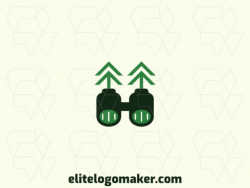Abstract logo design with the shape of a binocular combined with four arrows with green colors.