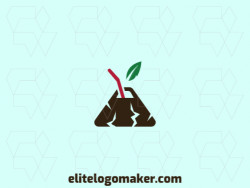 Illustrative logo design in the shape of a volcano combined with a drinking straw and a leaf with green, brown and red colors.