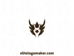 Create your own logo in the shape of a vulture with symmetric style with red and black colors.