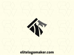 Minimalist logo with a refined design forming a vulture with black and gray colors.