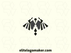 Logo design with a creative concept and symmetry style forming a vulture flying with black and gray colors.