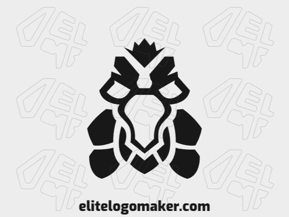 Logotipo composto por formas abstratas formando um urubu com estilo simples, a única cor utilizada foi preto.