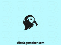 Animal logo in the shape of a vulture's head composed of solids shapes and refined design with black color.